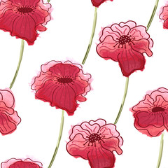 Red poppy flower. Vector watercolor seamless floral pattern back