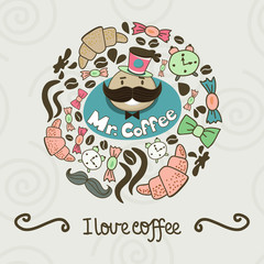 Circle shape made of candy, sweets, cup, lettering, man and coff