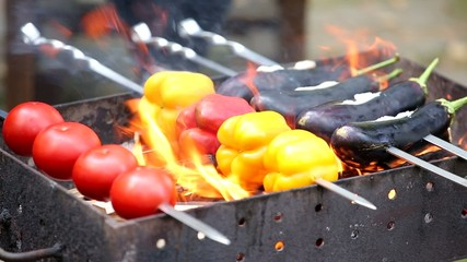 vegetables on skewers on the grill