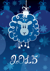 Funny sketching sheep - symbol of the New Year 2015. Vector post