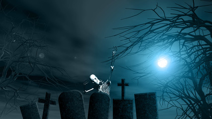 Halloween background with spooky trees and skeleton