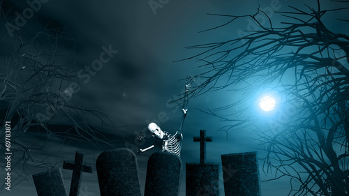canvas print picture Halloween background with spooky trees and skeleton