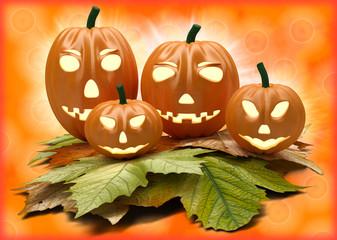Halloween pumpkin lanterns on orange background