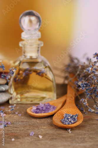 canvas print picture Spa still life with lavender oil and flowers