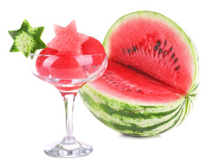 Watermelon in goblet isolated on white