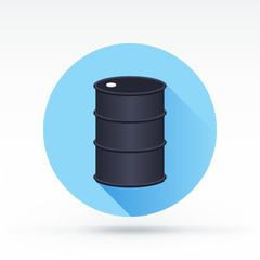 Flat style with long shadows, oil barrel vector icon