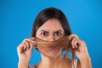 Woman with a hair moustache