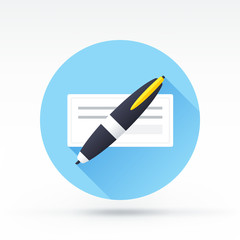 Flat style with long shadows, check with pen vector icon