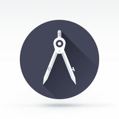 Flat style with long shadows, drawing compass vector icon