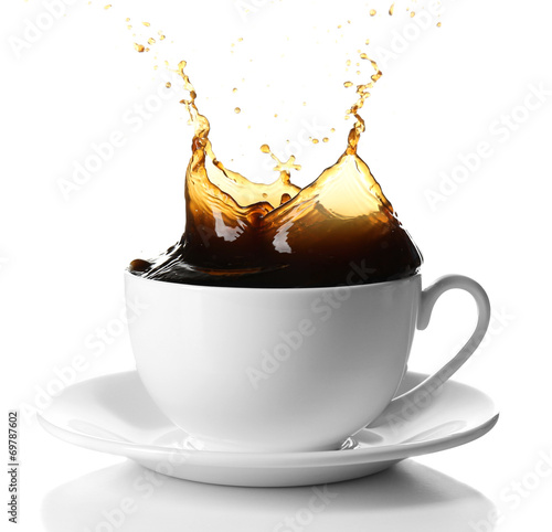 Cup of coffee with splashes, isolated on white © Africa Studio