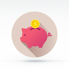Flat style with long shadows, pig bank vector icon
