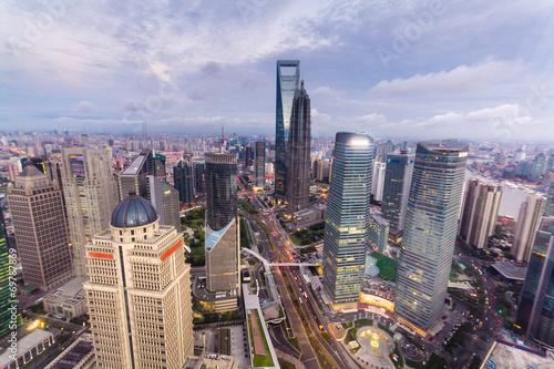 Poster Chicago shanghai lujiazui financial center aside