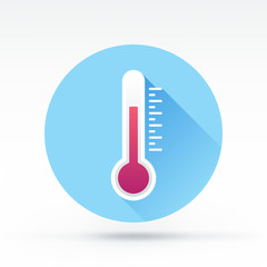 Flat style with long shadows, thermometer vector icon