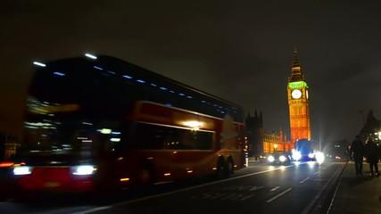 Bus on Westminster Bridge near Big Ben, London