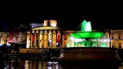 National Gallery and Trafalgar Square fountain at Night, London