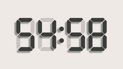 Digital clock countdown from sixty to zero - full HD