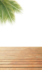 Green coconut leaves frame over wooden floor