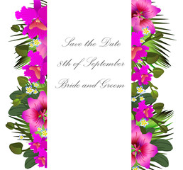 Tropical flowers and leaves. Floral design background. Bright co