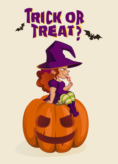 Halloween illustration with witch on pumpkin lantern