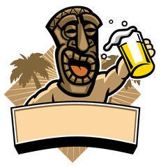 tiki hold a glass of beer