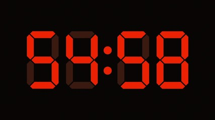 Digital clock countdown from sixty to zero - LED display