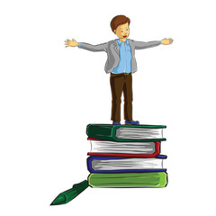 businessman stand on top of book