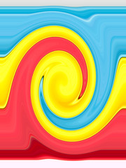 Light blue, yellow and pink twirling strips abstract background