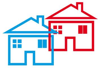 maisons imbriquées, concept union, regroupement