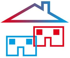 maisons imbriquées, un seul toit, concept solidarité