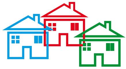 maisons imbriquées, concept fusion d'entreprises