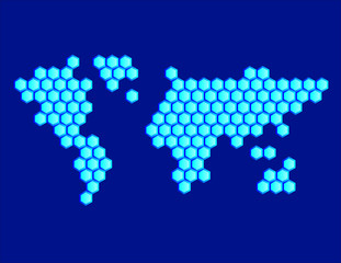 Hexagonal Map of the World Blue