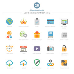Set of Full Color SEO and Development icons Set 3