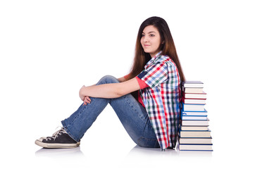 Young female student isolated on the white