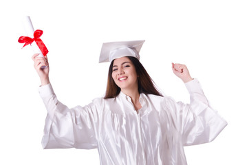 Graduate girl with diploma  isolated on white
