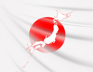 日本地図と日章旗