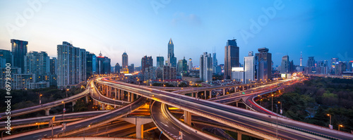 shanghai interchange overpass and elevated road in nightfall - 69793800