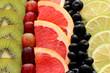 canvas print picture - Obstscheiben Pampelmuse,Kiwi,Traube,Zitusfrucht