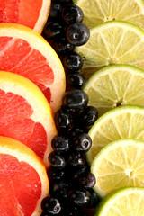 Obstscheiben in Reihen nebeneinander angeordnet