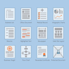 Conceptual web and paper document layouts icons set