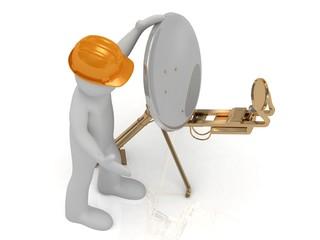 3d man in orange helmet adjusts the gold satellite