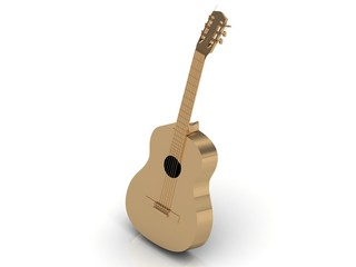 Gold Acoustic guitar made with golden strings