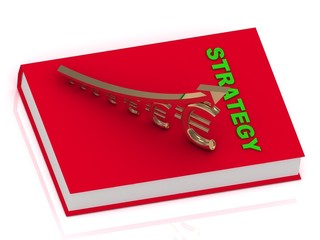 STRATEGY book and statuette growing golden euro