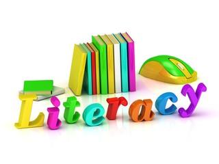 Business Literacy inscription bright volume letter