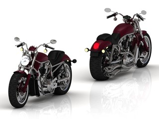 Two motorcycles with a chrome engine and exhaust