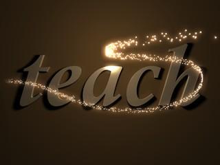 teach- 3d inscription with luminous line with spark