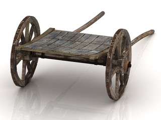 Olden wagon cart with wooden