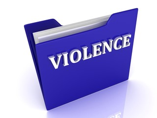 VIOLENCE bright white letters on a blue folder
