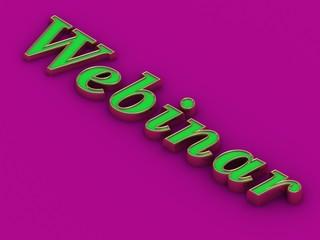 Webinar - inscription of golden green letters