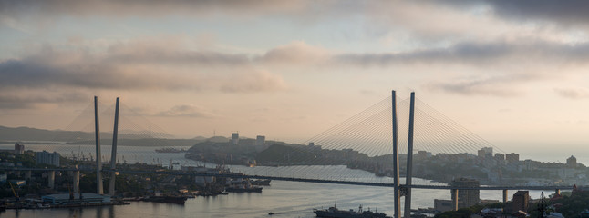 High resolution view of bridge, sunset.