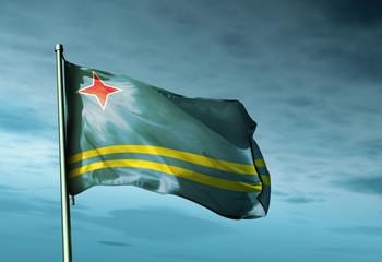 Aruba flag waving on the wind